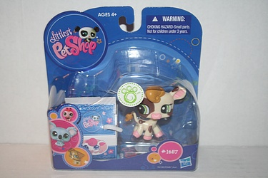 Littlest Pet Shop - #1457 - Cow with Milk Carton