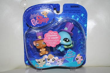 Littlest Pet Shop - #462 and #463 - Mouse and Peacock with hats